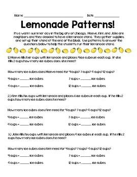 Number Patterns: Lemonade Stand