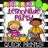 Lemonade Party for Spring and Summer - Quick Prints for Kindergarten