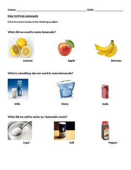 Lemonade Questions Worksheets (Differentiated)