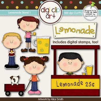 Lemonade Stand 1-  Digi Clip Art/Digital Stamps - CU Clip Art