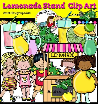 Lemonade Stand  Clip Art set- Color and B&W- 35 items!