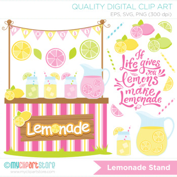 Lemonade Stand Clipart, Lemons, Limes, Grapefruit, Summer, SVG