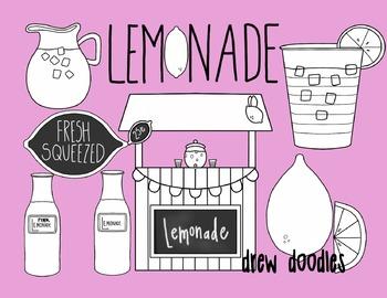 Lemonade Stand Digital Clip Art Set- Black Line Version