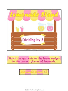 Lemonade Stand Dividing by 3 File Folder Game ~ Division Activity/Center