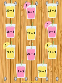 Lemonade Stand Dividing by 3 File Folder Game ~ Division A