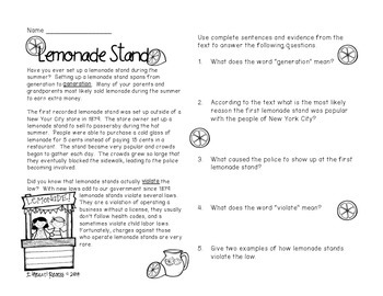 Lemonade Stand Informational Text {Forever Freebie}