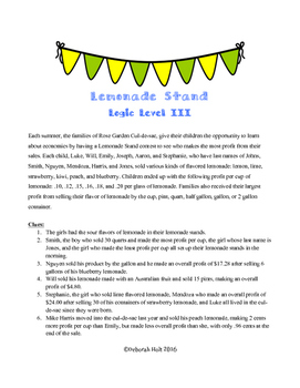 Lemonade Stand Logic Level 3