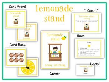 Lemonade Stand Money Matching Game - Pennies - Math Folder Game