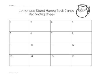 Money Task Cards {Lemonade Stand Theme}