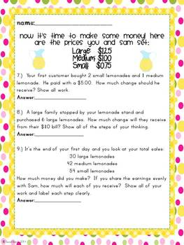 Lemonade Stand: Operating with Decimals Project {Common Core Aligned}