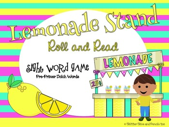 Lemonade Stand Roll and Read Sight Word Game: Pre-Primer Dolch Words