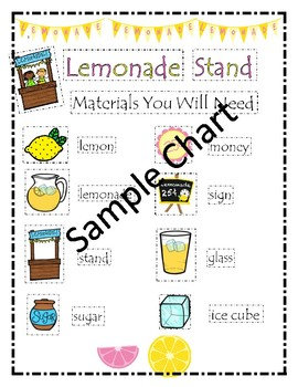 Lemonade Stand: Write the Room and Anchor Chart Activities - Differentiated