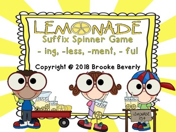 Lemonade Suffix Spinner Game -ing, -less, -ment, -ful