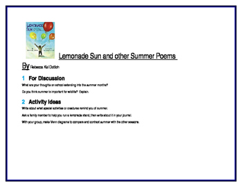 Lemonade Sun and other Summer Poems for Literature Circles