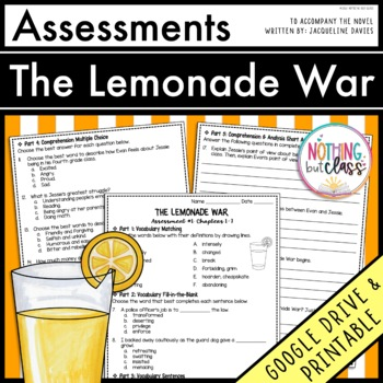 The Lemonade War: Tests, Quizzes, Assessments