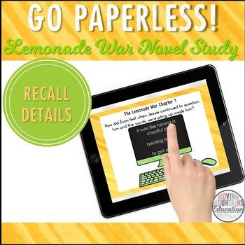 Google Classroom™ Lemonade War Sample Novel Study Self-Checking Task Cards