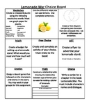 Lemonade War Choice Board/Menu