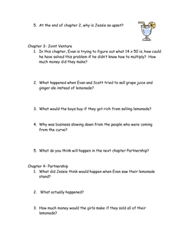 Lemonade War (Jacqueline Davies) comprehension questions/answers