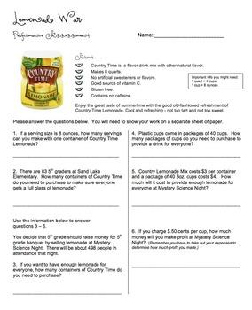 Lemonade War Math Tie-in  - Performance Assessment