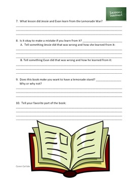 Lemonade War - Question & Answer Sheets
