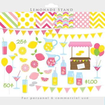 Lemonade clipart - pink lemonade stand clip art summer lemons shop stand papers