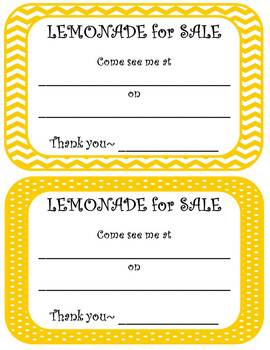 Lemonade for Sale--Decoration Sales Kit