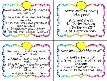 Lemonade for Sale Quiz Quiz Trade Cards Harcourt Trophies 2nd