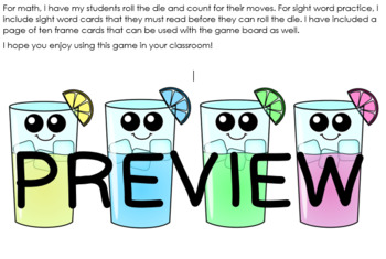 Lemonade in the Summer Game Board with Ten Frames