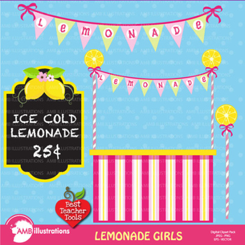 Lemonade Clipart, Lemonade stand clipart, Lemonade party clipart, AMB-890