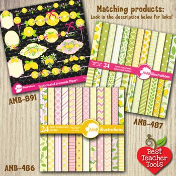 Lemonade stand clipart, Lemons Clipart, Lemonade party frames clipart, AMB-891