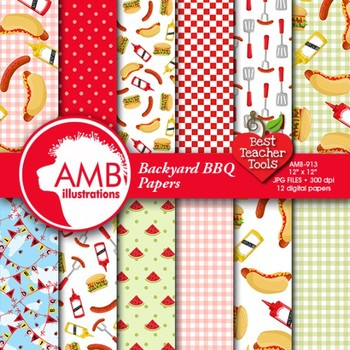 Digital Papers, BBQ party digital paper and backgrounds,  AMB-913