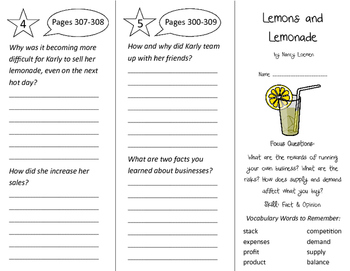 Lemons & Lemonade Trifold - Imagine It 3rd Grade Unit 3 Week 3