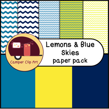 Lemons and Blue Skies Chevron Paper Pack {CU - Commercial Use ok!}