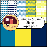 Lemons and Blue Skies Chevron Paper Pack {CU - Commercial