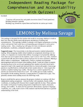 Lemons by Melissa Savage Independent Reading Package with Quizzes!