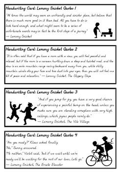 Lemony Snicket Quotes - Fun handwriting practice in D'Nealian Manuscript