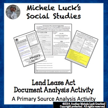 Lend Lease Act of 1941 WWII Document Analysis Activity