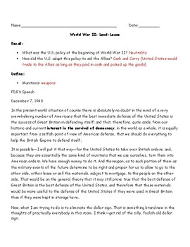Lend-Lease Worksheet with Answer Key