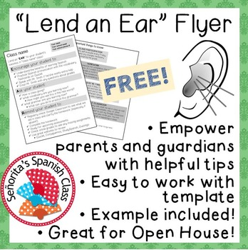 Lend an Ear - FREE Parent Engagement Flyer