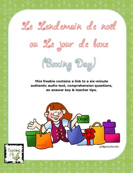 Lendemain de noel - Boxing Day French audio comprehension