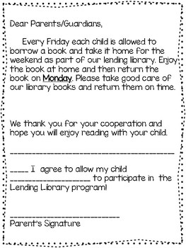 Lending Library Letter and Permission Slip