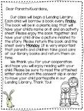 Lending Library Letter and Permission Slip