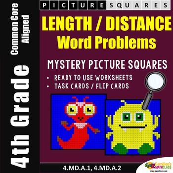 4th Grade Length Measurement Word Problems Coloring Worksheets