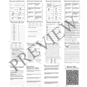 Measurement Length Capacity and Weight Activity Packet Printable Worksheets