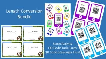 Length Conversion Bundle(U.S.)-Scoot, QR Code Task Cards, QRCode Scavenger Hunt