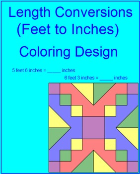 Length Conversions - Feet to Inches Coloring Activity