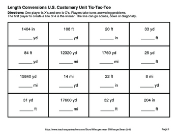 Length Conversions U.S. Customary Unit Tic-Tac-Toe