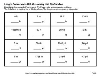Length Conversions U.S. Customary Unit Tic-Tac-Toe