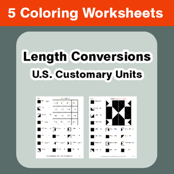 Length Conversions (U.S. Customary Units) - Coloring Worksheets