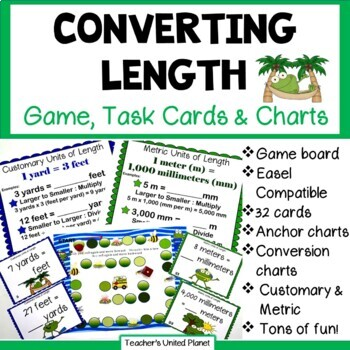 Converting Length - Game/Task Cards and Charts!